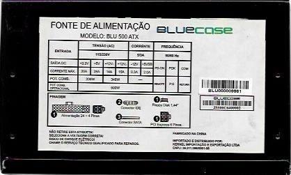 Fonte De Alimentação Bluecase Blu 500 Atx 115/230v 5/3a 50hz
