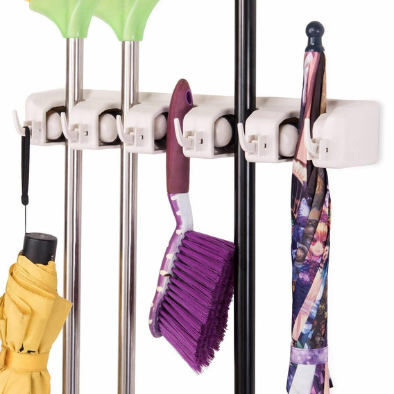 Tangkula Mop Broom Holder Home Kitchen Garden Tool Organizer