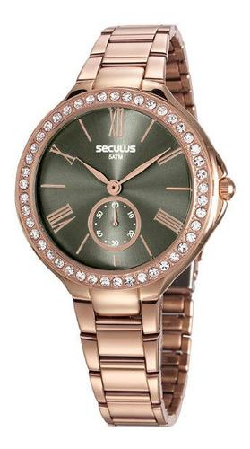 Relógio Seculus Feminino Rosê/preto Aço 5 Atm 48086lpsvrs4