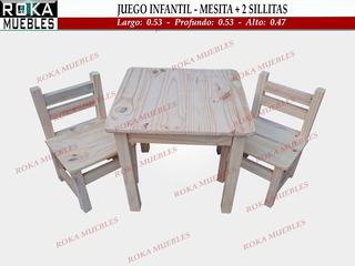 Mesa Infantil + 2 Sillitas De Niño Pino 0.53x0.53 Roka