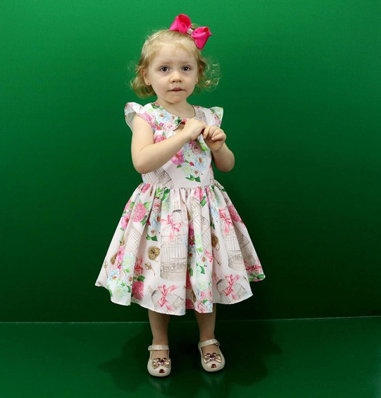 Vestido De Festa Infantil Com Flores Katitus