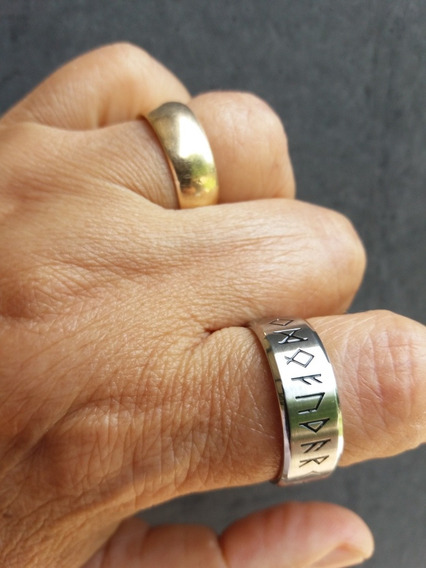 Anel Odin Rune Vintage Aço 316l