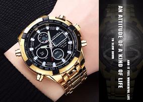 Relógio Em Aço Dourado Masculino Displ/digital Mostra/preto!