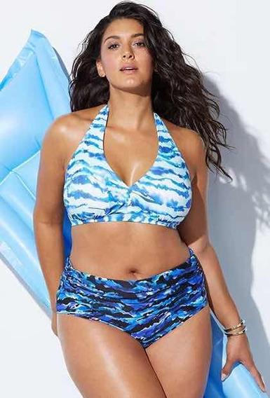 Biquini Plus Size Com Bojo Azul