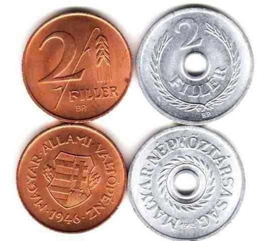 2 Monedas De Hungria Año 1946 Y 1963 Sin Circular