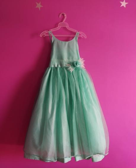 Vestido De Fiesta Verde Turquesa Marca Frech Para Niña