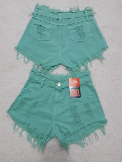 Shorts Jeans Feminino Bermuda Cintura Alta Hot Pant Anita