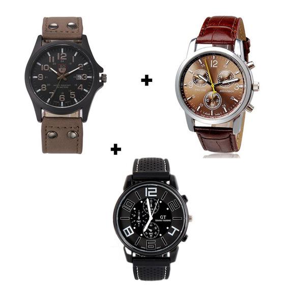 Kit Relógios Para Homem Modelos Variados Couro E Silicone