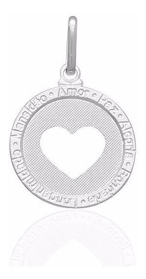 Pingente Medalha Coração Vazado Dizeres Prata Pura 990