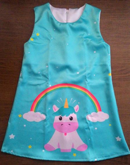 Vestido Infantil Trapezio Unicórnio