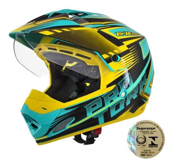 Capacete Esportivo Moto Masculino Verde E Amarelo Pro Tork