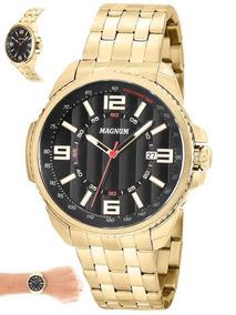Relógio Magnum Masculino Dourado Luxo Original Ma32818u