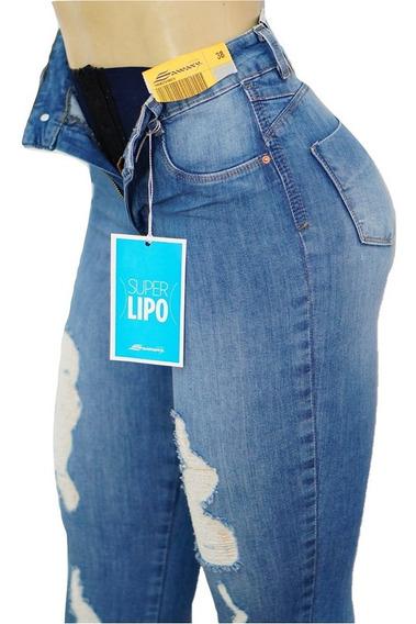 Calça Sawary Jeans Cintura Alta Super Lipo Destroyed