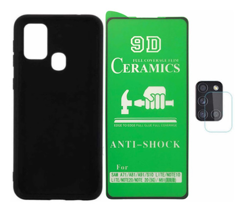 Estuche Silicone Case + Cerámica + V Cámara Samsung A21s