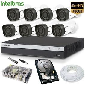 Kit Dvr 8 Cameras Full Hd Intelbras - Completo