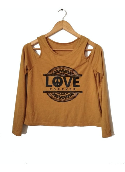 Remera Manga Larga Hombros Descubiertos Love