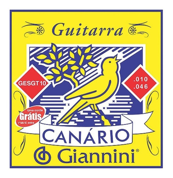 Encordoamento Para Guitarra Giannini Gesgt10 010 Canário Aço