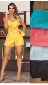 Conjunto Feminino Shorts E Cropped Com Detalhes