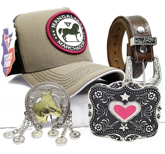 Kit Country Feminino Cinto Couro + Boné E 2 Fivelas Cowgirl