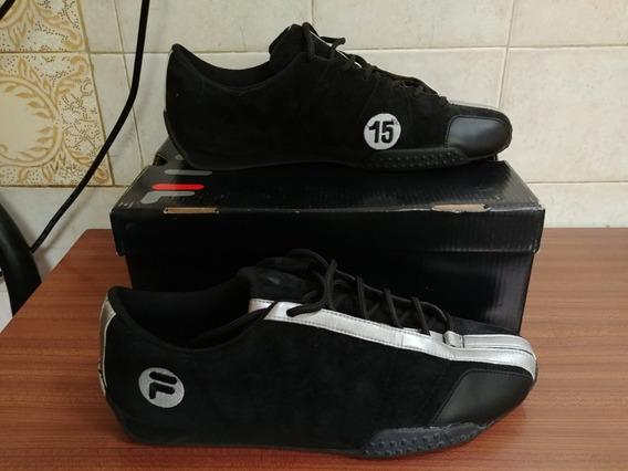 Zapatillas Fila Trofeo Ii Negras Plata Gamuza Talle 45