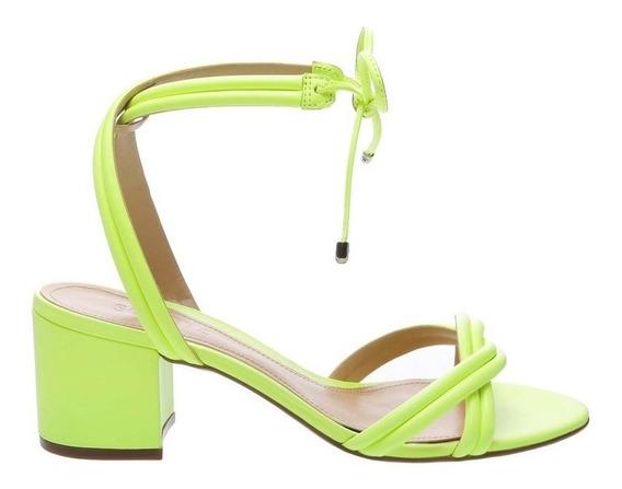 Sandália Schutz Block Heel Strings Neon Yellow