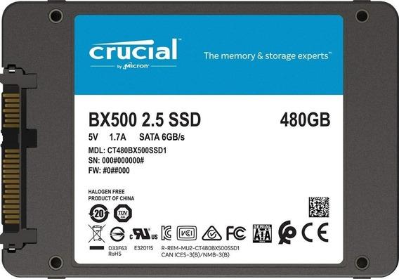 Hd Ssd 480gb Crucial Bx500 2,5 Sata 500 Mb/s Lacrado Pc/note