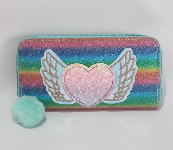Billetera Multicolor Corazón Con Brillos Alas Y Pompón Env