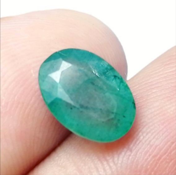 3.30ct Natural Esmeralda Impresionante Verde Oval Anillo