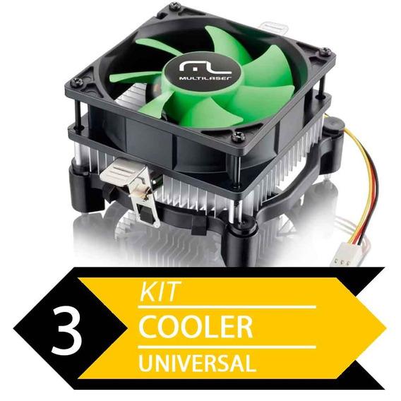 Kit 3 Cooler Uni Amd E Intel Multilaser Ga120 - Baixo Ruído