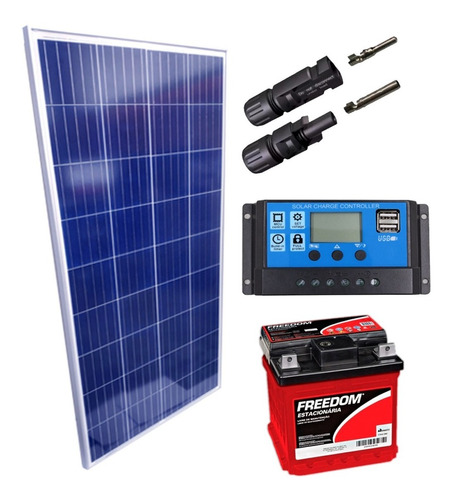 Imagem 1 de 1 de Kit Placa Solar 150w Controlador 30a Lcd Bateria 70ah