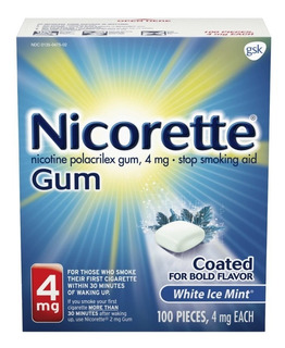 Nicorette Gum 100 Chicle Nicotina 4mg Sabor Ice Mint Fumar