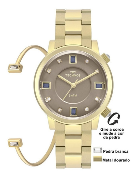 Relógio Technos Feminino Crystals Com Bracelete 2039bu/k4c