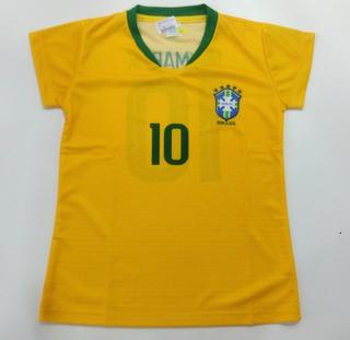 Camisa Futebol Mania Seleção Brasileira Baby Look Feminina R