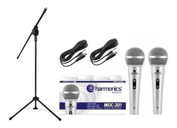 Kit 2 Microfone Profissional Mdc201+pedestal +cachimbo+cabo