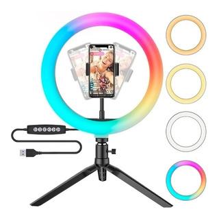 Aro De Luz Led Tripode Colores Rgb Celular Selfie 26 Cm