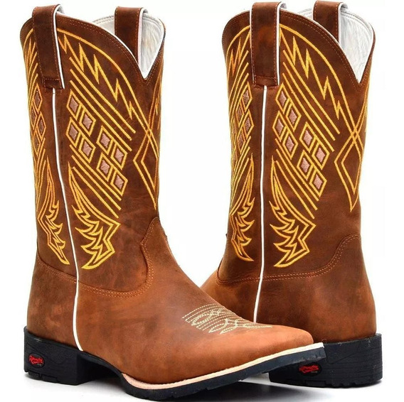 Bota Country Texana Rodeio Masculina Bico Quadrado Em Couro