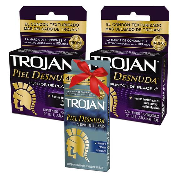 6 Condones Trojan Puntos De Placer + 9 Piel D. Gratis