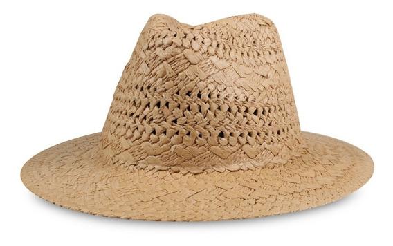 Chapéu Fedora De Palha Caramelo Palha Trançada Aba 7cm Reta