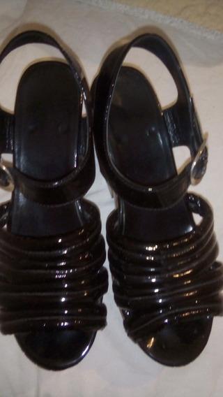 Zapato Sandalia Mishka Negro Cuero Charol