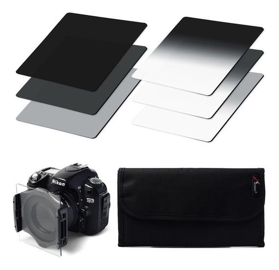 Kit 6 Filtros Formato Cokin Nd + Suporte + Case +1 Anel