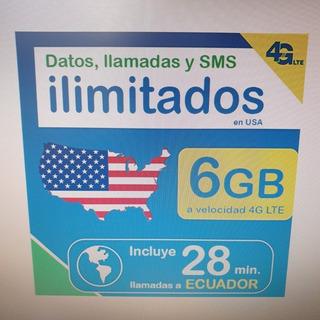 Chip Para Usa Internet Datos Ilimitado Estados Unidos Sim