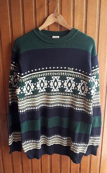 Sweater Lacoste De Hombre Motivo Etnico Talle L