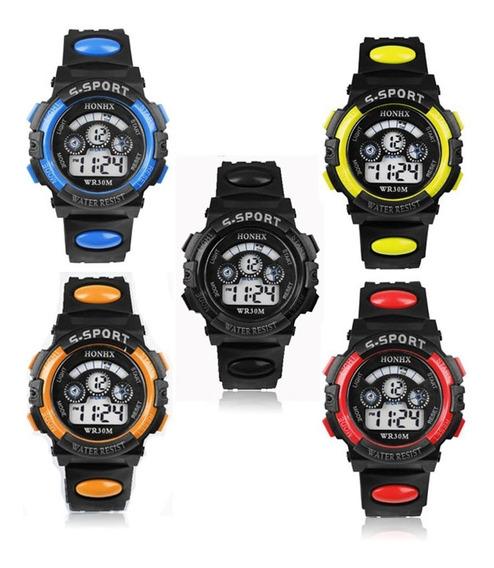 Relógios Infantis Kit 4 Unidades Luz Colorido Frete Grátis