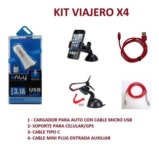 Kit X4 Viajero Cargador Celular Soporte Cable V8 Y T.c Audio