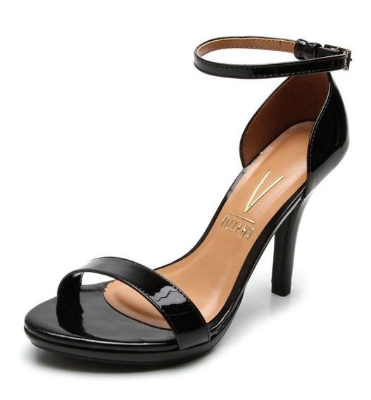 Sandalia Salto Feminina Vizzano Alto Fino Preta Tira Fina