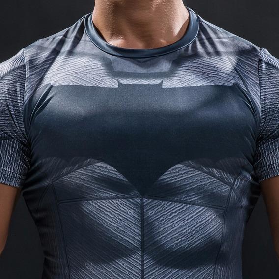 Camiseta Compressao 3d Batman Liga Da Justiça Uv Dryfit