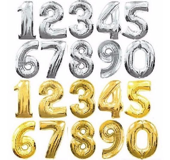 Globos Metalizados Números Gigantes 34 Apto Aire Y Helio