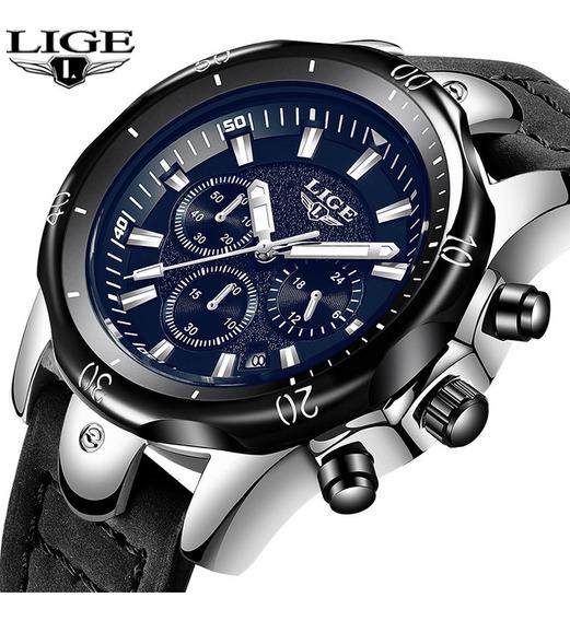 Relógio Masculino Original Lige Esportivo Luxo C/ Caixa Top!