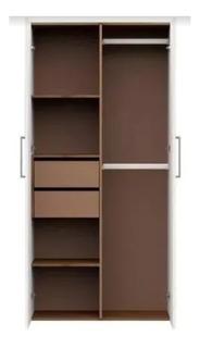 Placard Ropero 90cm / 2 Puertas 2 Cajones Int. Premium Roble