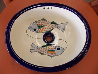 Lavabo Ovalin Artesanal Talavera Fina Estilo Antiguo. Peces